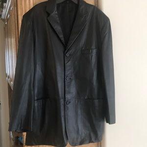 Alfani Positano Black Leather Coat Jacket 42R